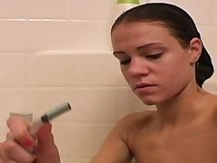Ultra-cute Ally taking shower and shaving