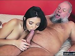 Brazilian Frida Sante enjoys to suck and ride on an old pecker