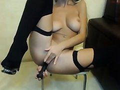 Nasty curvy arse ass-fuck penetration with faux-cock