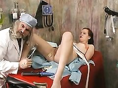 Dirty doctor inspects a woman and fucked dildo