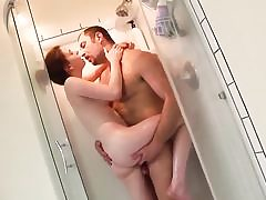 Diminutive titted teenage rock-hard pummels in shower