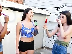 Amateur femmes paid money for some topless ice-cream sucking
