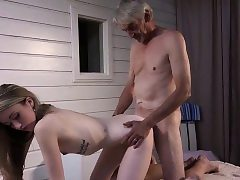 Skinny Teenie Massage has orgy with grandpa and sucks cock