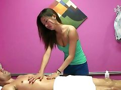 Wealthy client gets a peculiar therapy in a rubdown session