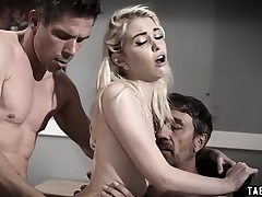 Teenage double-penetrated by her stepdad and her uncle