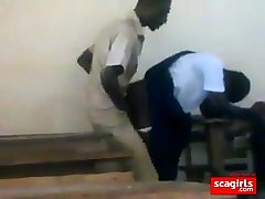 teen african students banging doggstyle in class
