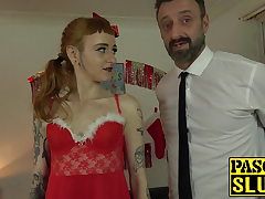 Super-naughty sub Azura Alii costumed for hardcore anal and facial cumshot
