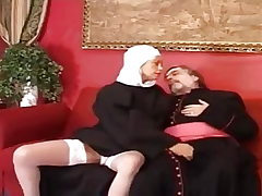 Senior priest fuck a young and sexy nun.