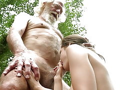 70 yr old granddad pokes 18 yr old woman moans and excited
