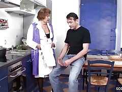 German Antique Grandmother Seduce to Fuck by Youthfull Guy in Kitchen