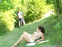 Daddy ravages mega-bitch outdoors