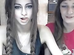 Young girlfriends posing on web cam