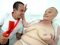Hefty cock for granny