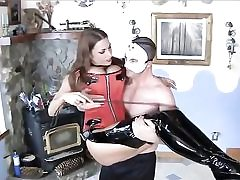 Hot bitch clad extremely handsome about to have sex with this stud dressed in a mask