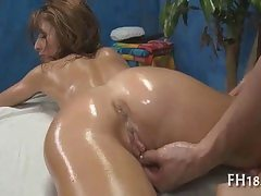 Naked babe decorated in rubdown grease getting puss fingerblasted